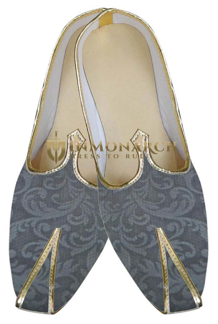 Traditional Shoes For Men Gray Designer Wedding Shoes Indian Shoes
