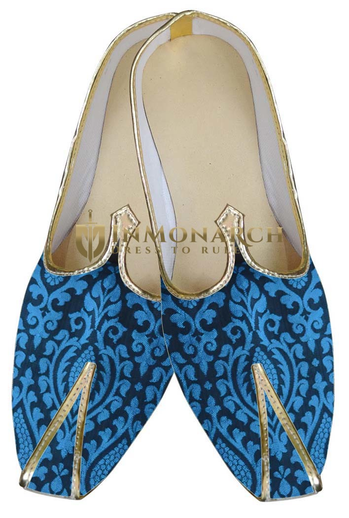 Mens Indian Bridal Shoes Royal Blue Groom Wedding Shoes