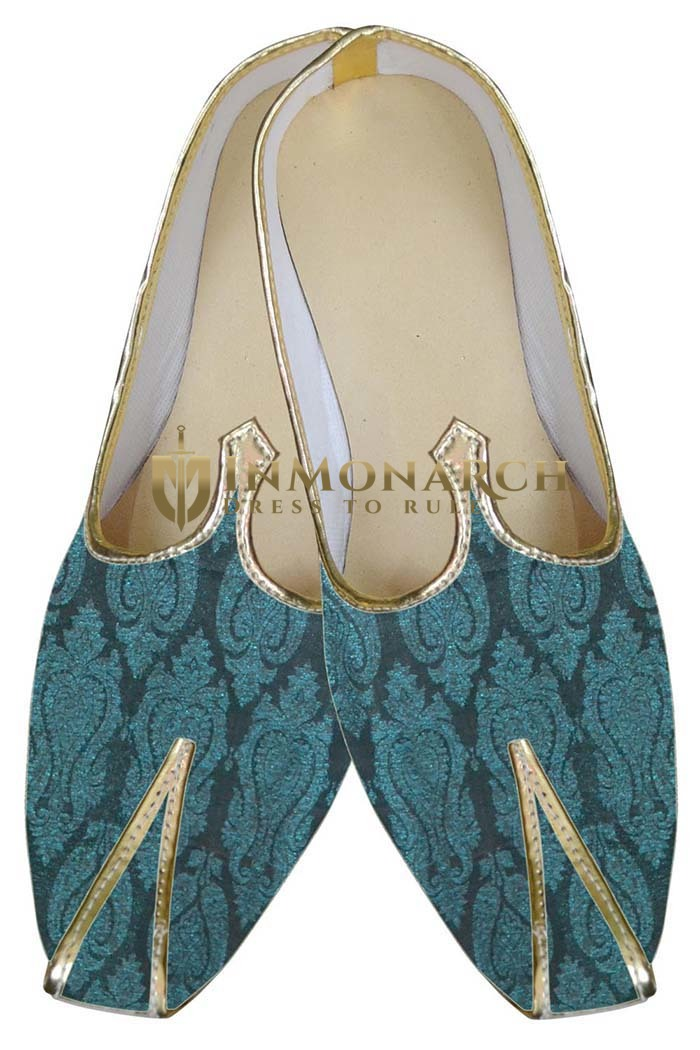 Mens Juti Teal Designer Shoes Sherwani Shoes Indian Bridal Shoes