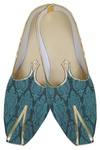 Mens Teal Designer Brocade Shoes