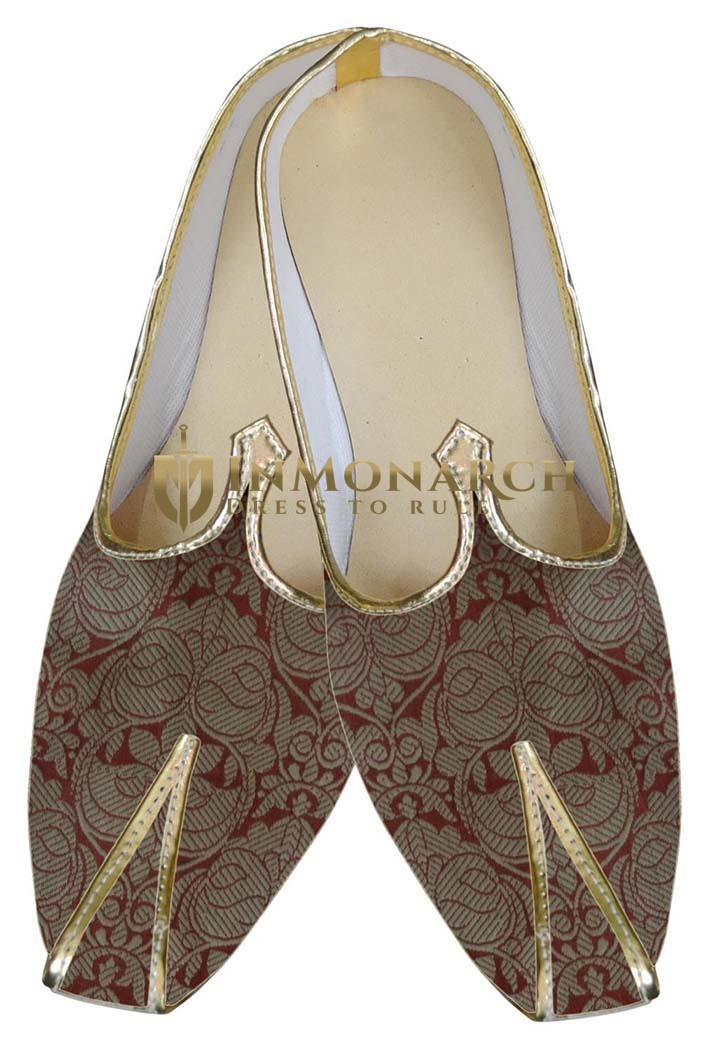 Mens Sherwani Shoes Golden Designer Wedding Shoes