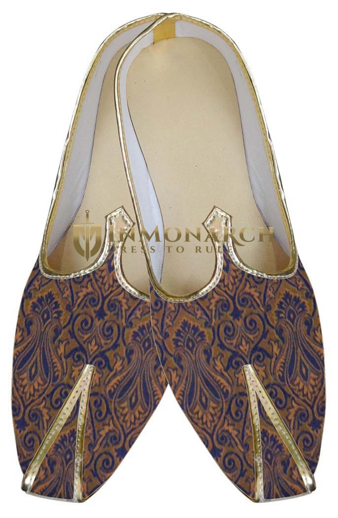 Mens Navy Blue Indian Wedding Shoes