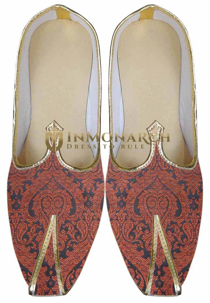 Mens Orange Brocade Wedding Shoes