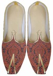 Mens Orange Brocade Wedding Shoes