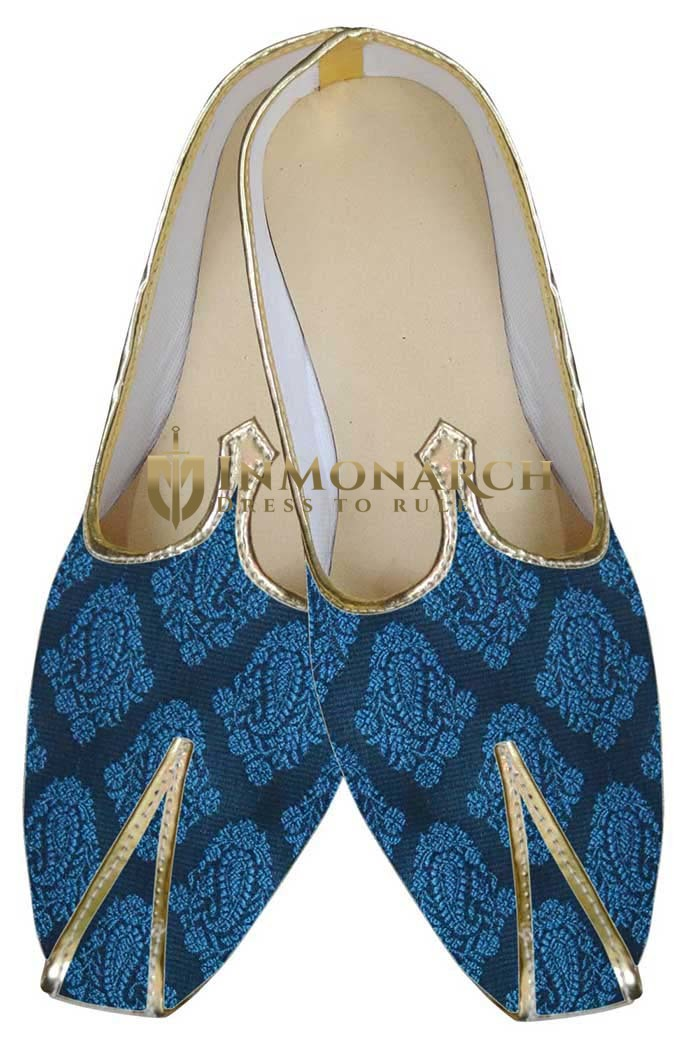 Mens Blue Brocade Wedding Shoes