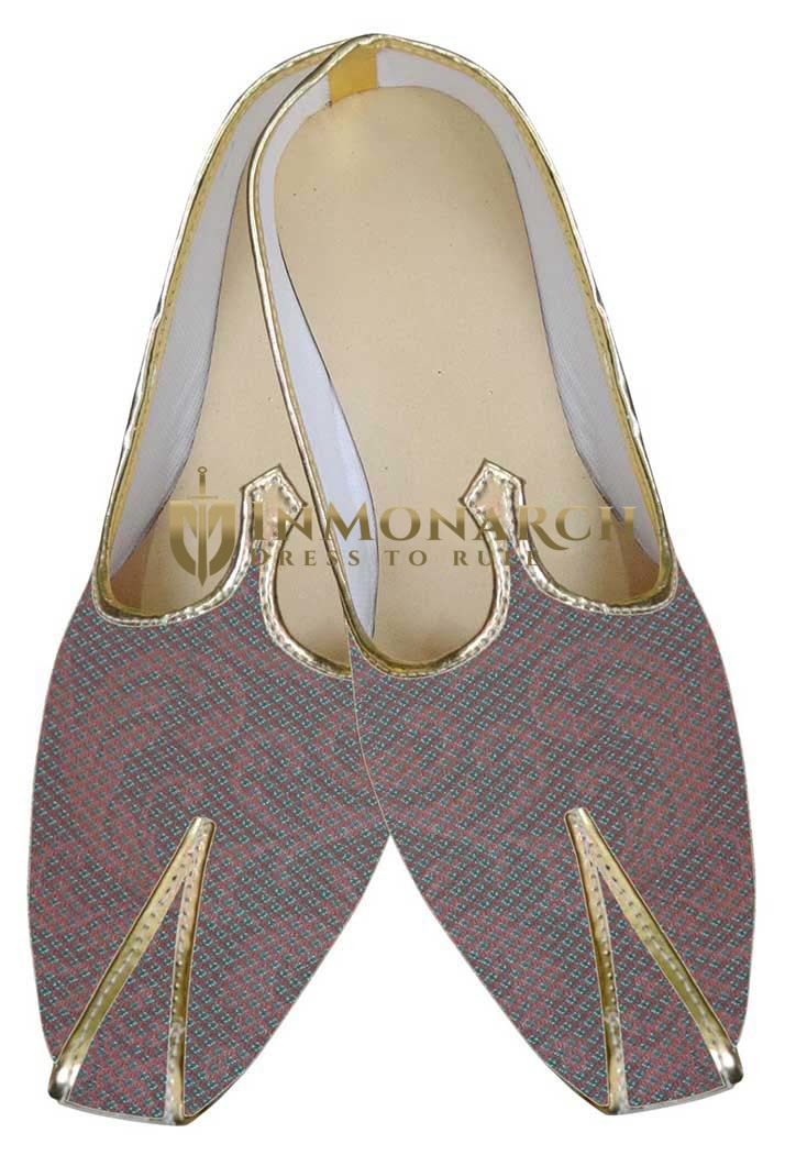 Mens Wine Brocade Wedding Shoes