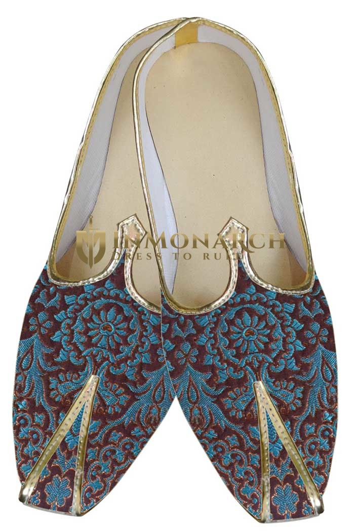 Mens Wedding ShoeFor Groom Blue And Maroon Wedding Mojari Indian BridalShoes