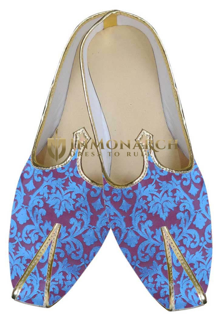 Mens Sherwani Shoes Blue Winsome Juti Reception Shoes