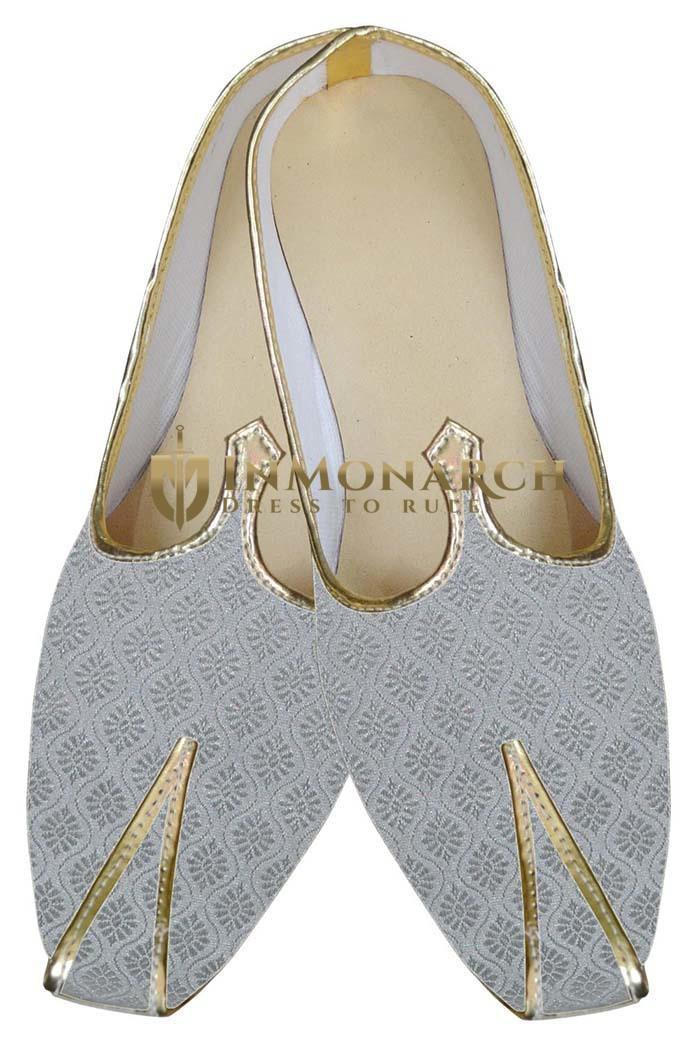 Mens Indian BridalShoes Silver Designer Wedding Shoes