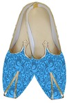 Mens Blue Brocade Designer Wedding Shoes
