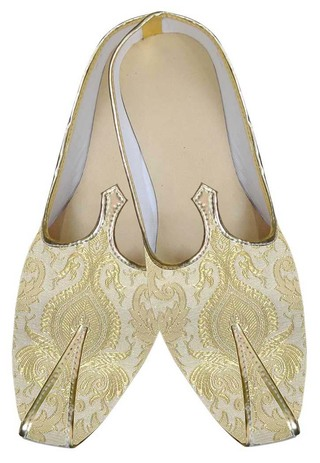 Mens Golden Cream Wedding Shoes