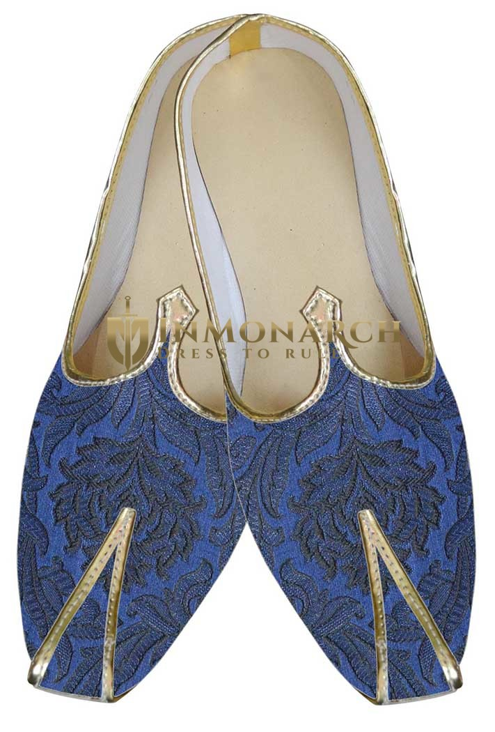 Indian Wedding Shoes For Men Purple And Navy Blue Wedding Mojari Traditional Shoes