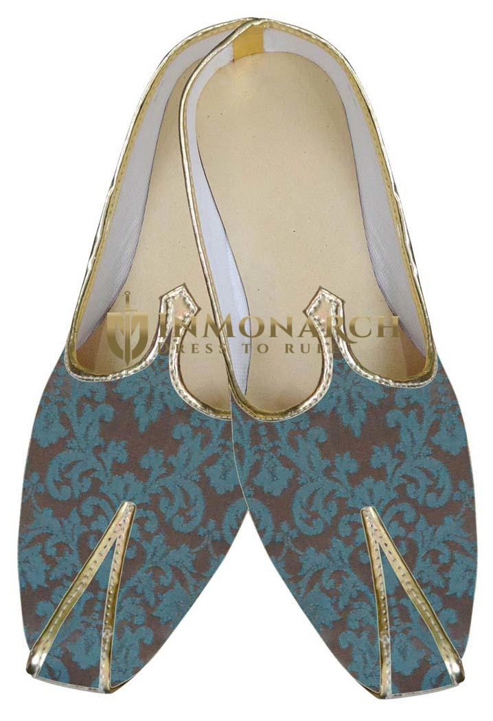 Mens Brown Brocade Wedding Shoes
