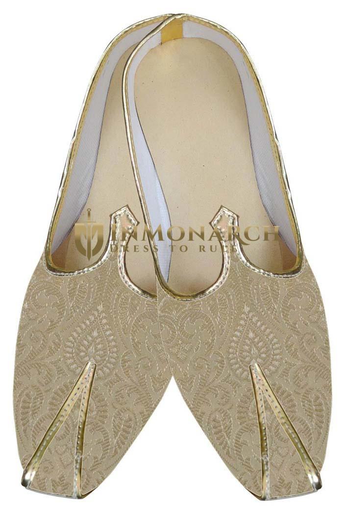 Mens Golden Designer Indian Shoes