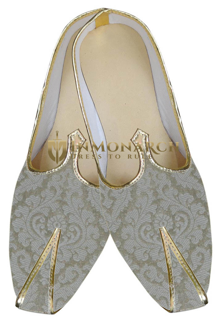 Traditional Shoes For Men Golden Cream Mojari Indian Mens Shoes