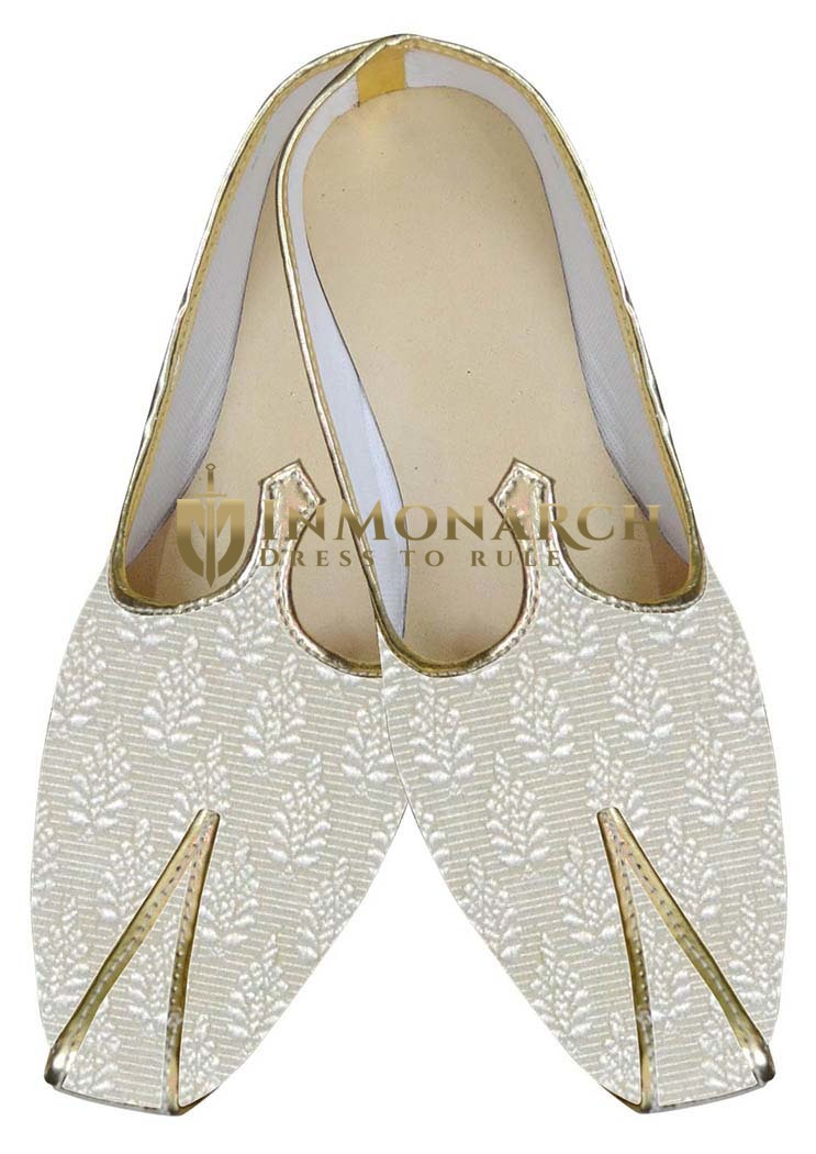 Traditional Shoes For Men Cream Wedding Indian Shoes