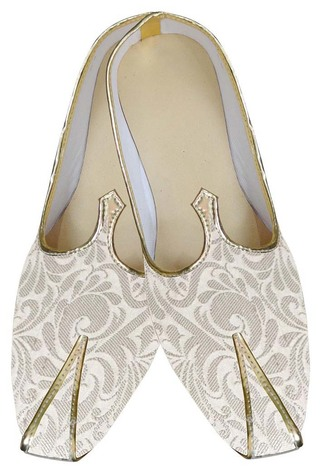 Mens Cream Brocade Wedding Shoes