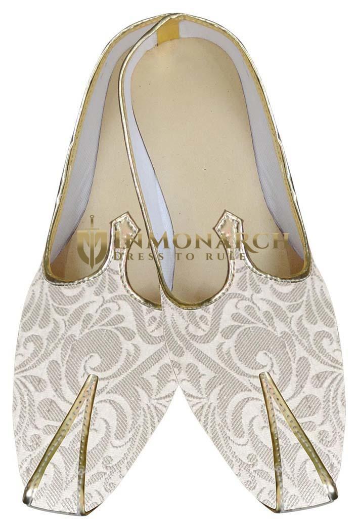 Mens Cream Brocade Wedding Shoes