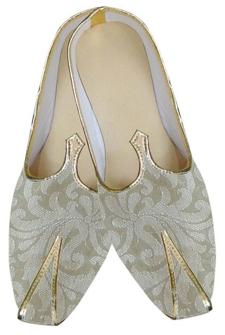 Mens Beige Brocade Wedding Shoes