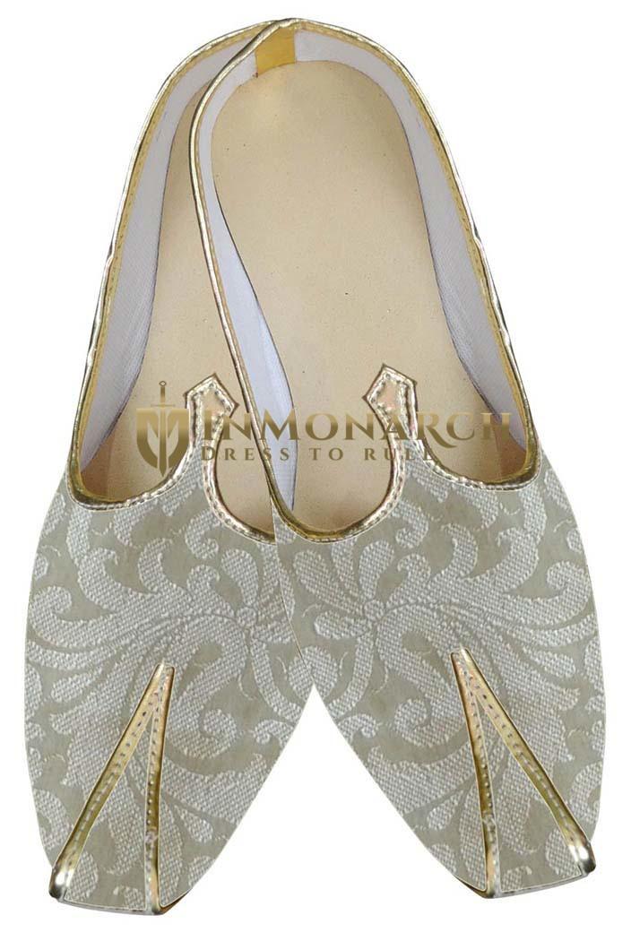 Mens Beige Brocade Wedding Shoes