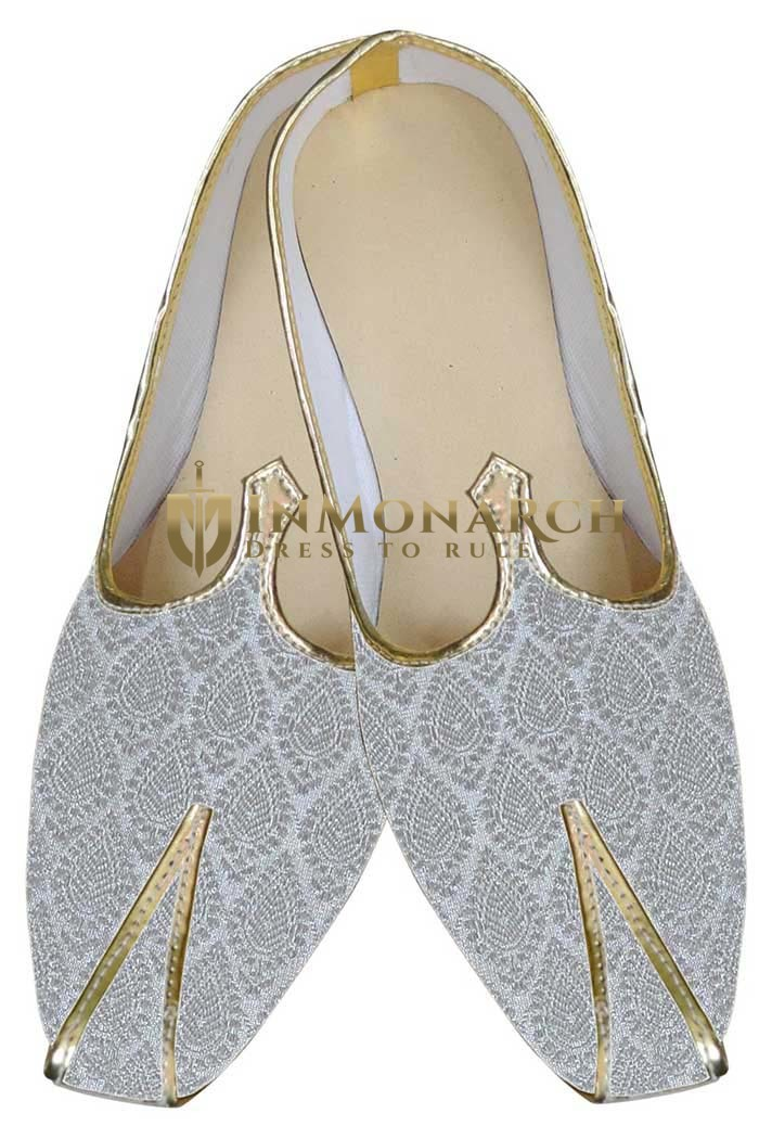 Mens Cream Brocade Wedding Shoes Ethnic