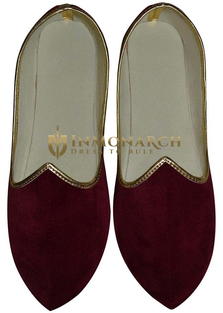 Mens Red Velvet Traditional Wedding Shoes