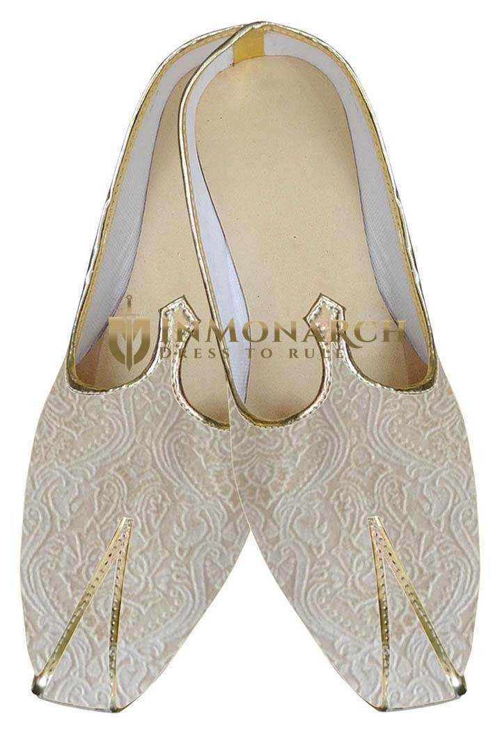 Mens Cream Occasional Indian Wedding Shoes