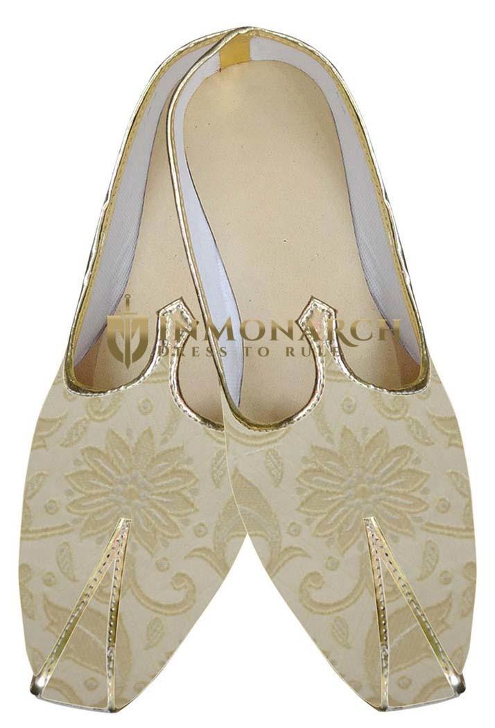 Mens Juti Beige Indian Wedding Sherwani Shoes Flower Design