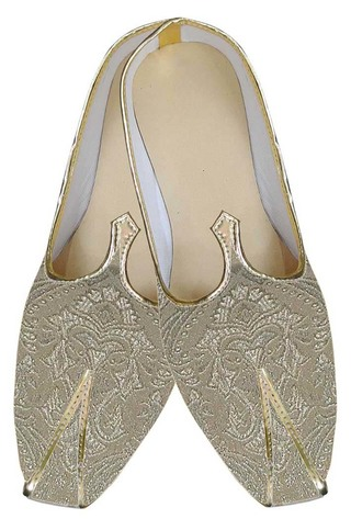 Mens Juti Golden Indian Wedding Shoes Flower Design Sherwani Shoes