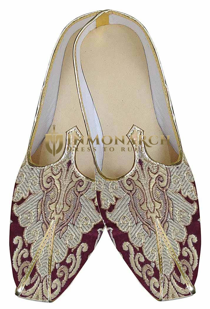 Mens Maroon Indian Wedding Shoes Designer MJ0148