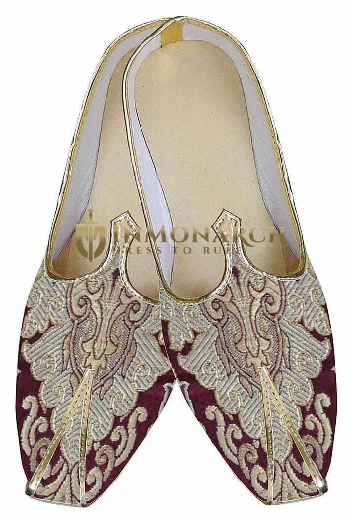 Mens Maroon Indian Wedding Shoes Designer MJ0148