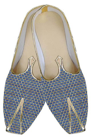 Mens Blue Indian Wedding Shoes Bricks Pattern