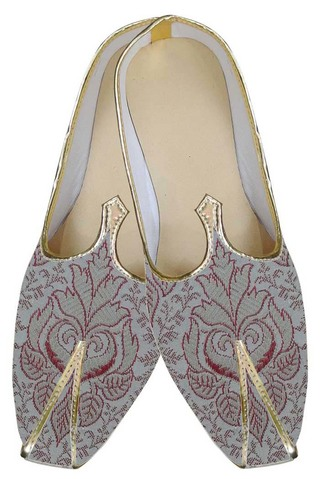 Mens Cream Indian Wedding Shoes Red Flower