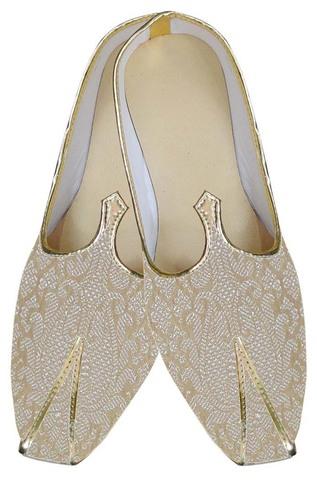 Mens Beige Unique Indian Wedding Shoes