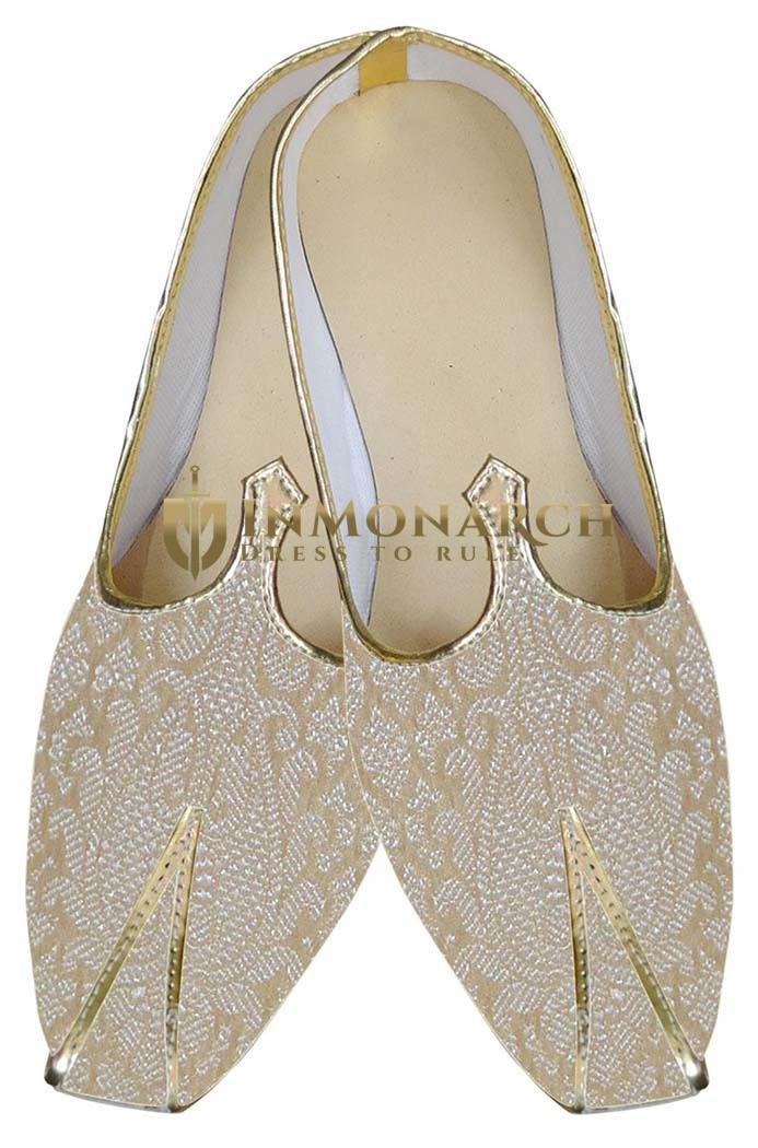 Mens Beige Brocade Indian Wedding Shoes