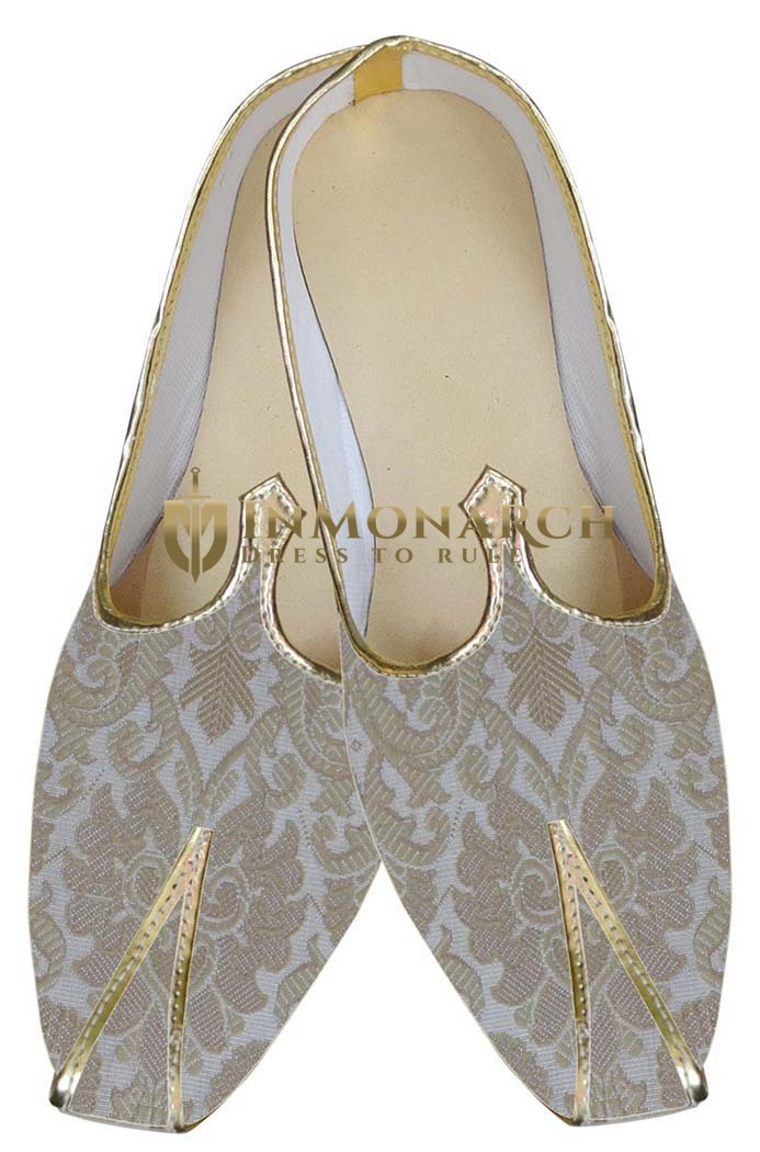 Mens Cream and Beige Indian Wedding Shoes