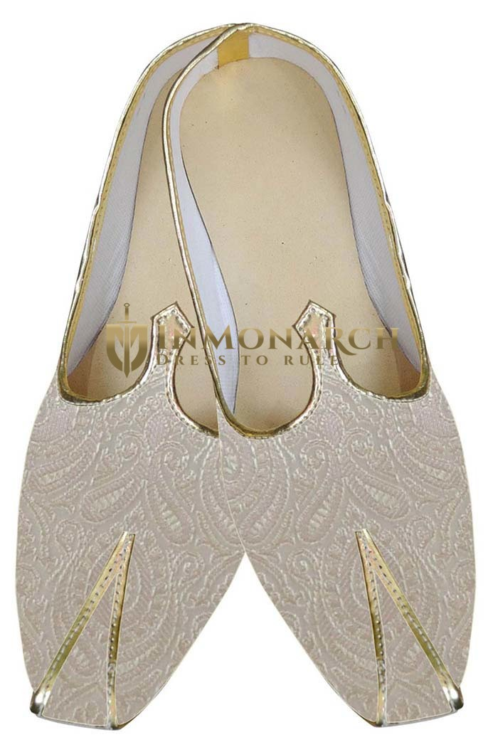 Traditional Shoes For Men Ivory Indian Groom Wedding Shoes