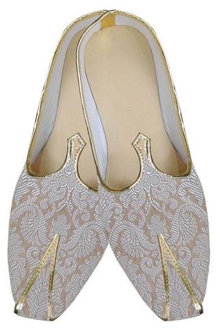 Mens Cream Brocade Indian Wedding Shoes
