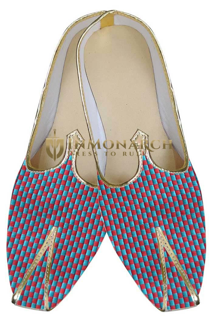 Mens Teal Indian Wedding Shoes Box Pattern