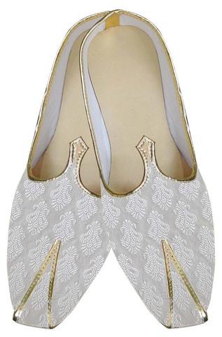 Mens White Resplendent Indian Wedding Shoes