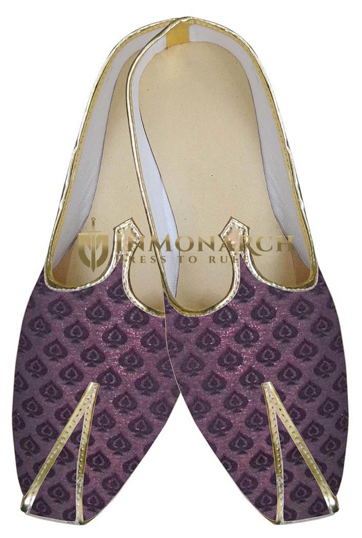 Mens Wine Indian Wedding Shoes Traditional