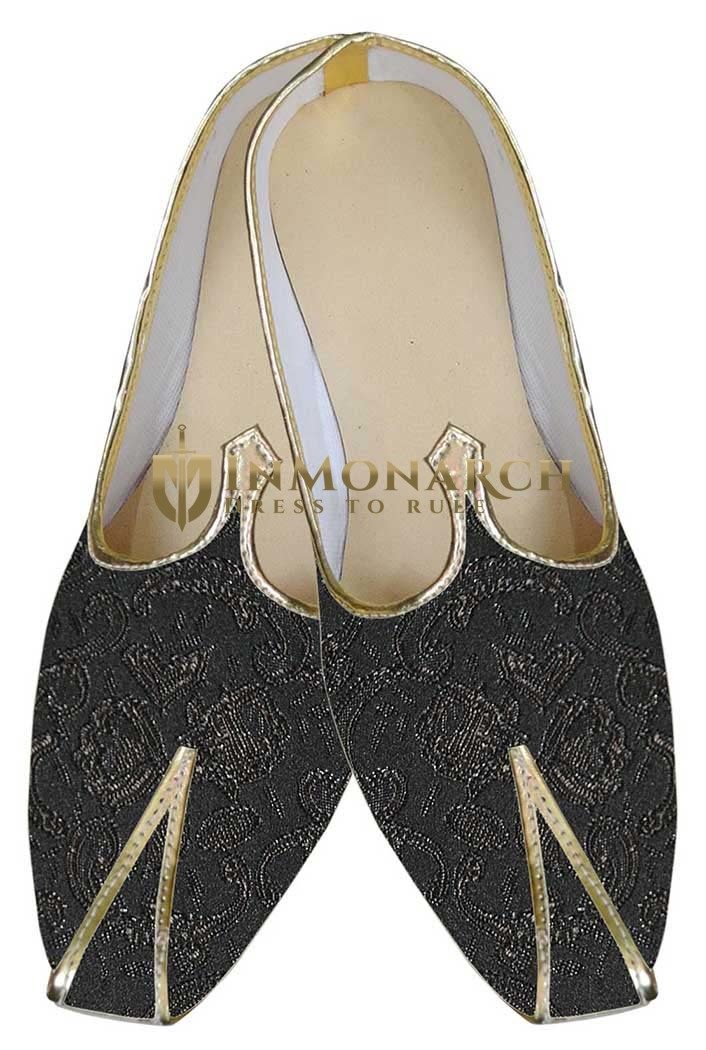 Mens Dark Gray Indian Wedding Shoes