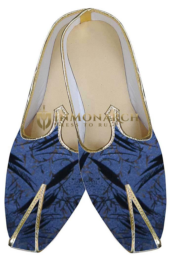 Mens Blue Brocade Indian Wedding Shoes