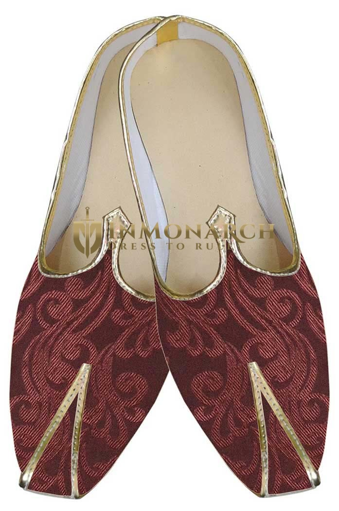 Juti For Men Maroon Indian Wedding Shoes For Groom