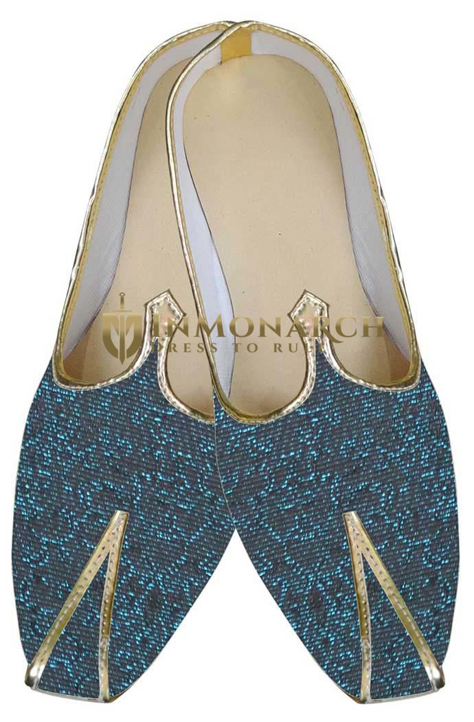 Mens Black Indian Wedding Shoes Teal Design