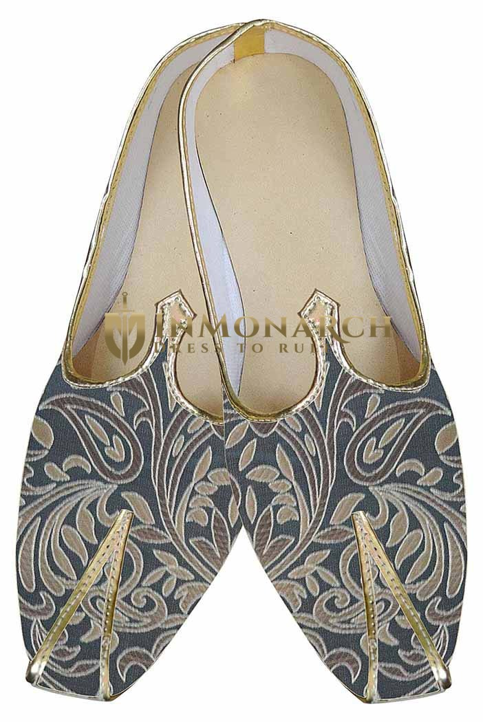 Mens Gray Brocade Indian Wedding Shoes Designer