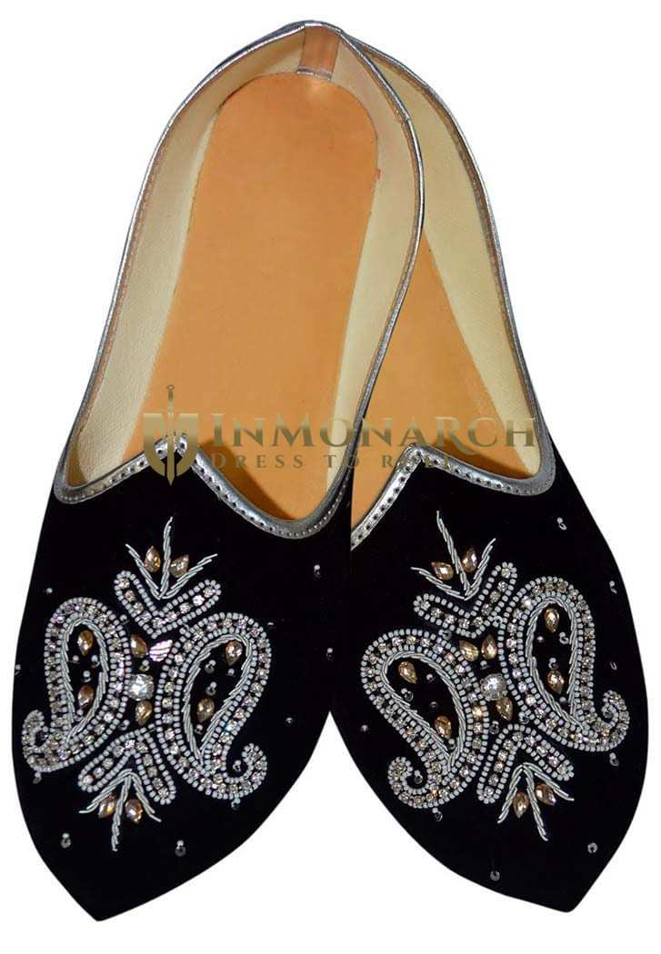 Mens Black Velvet Embroidered Wedding Shoes MJ0185