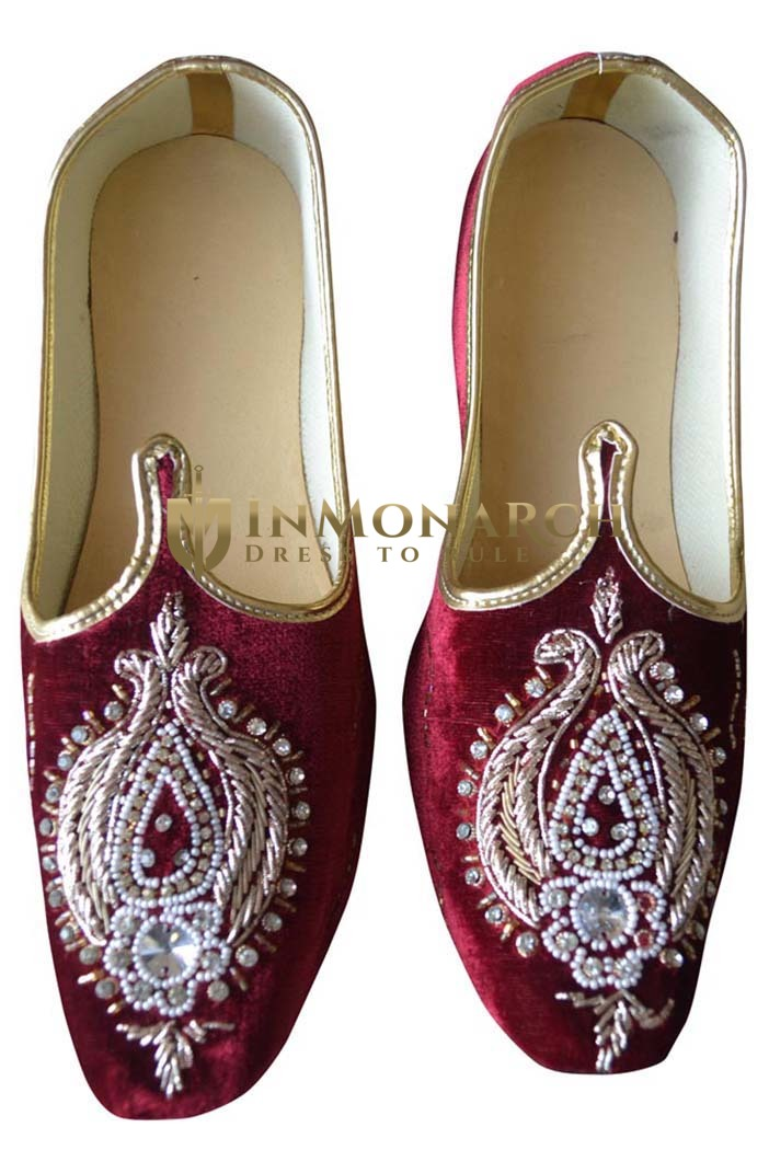 Mens Maroon Velvet Designer Wedding Shoes