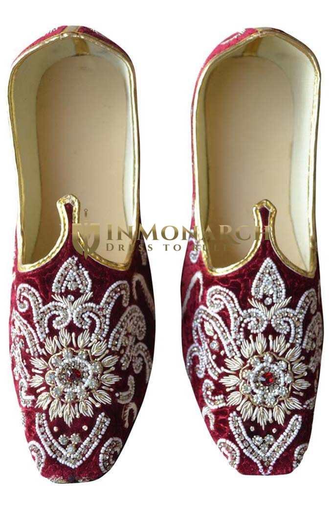 Mens Maroon Velvet Royal Wedding Shoes MJ0187