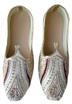 Mens Cream Embroidered Wedding Shoes